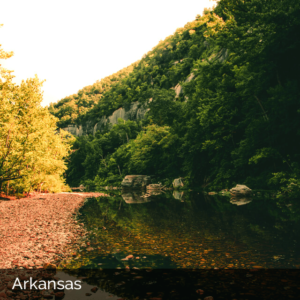 Arkansas river through cliffs covered with trees