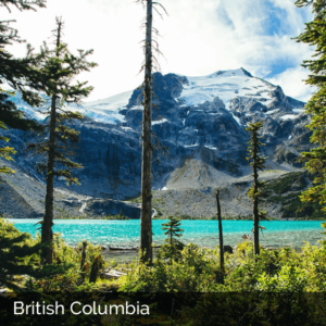 British Columbia mountains with blue water