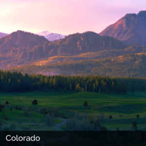 Colorado mountains in sunset