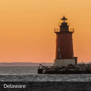 Delaware lighthouse at dusk