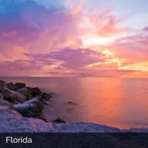 Florida's rocky coast at sunset