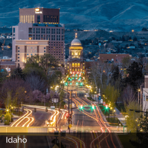 Idaho downtown at night with traffic