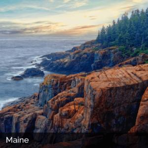 Maine rocky cliffs on the coast