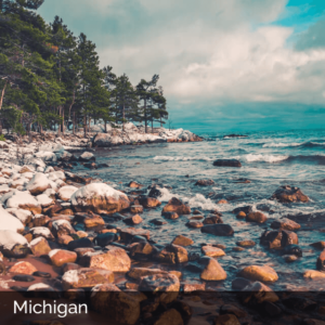 Michigan rocky coastline