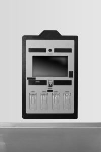 Grey and black in-wall kiosk