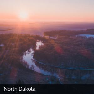 North Dakota winding river at sunrise
