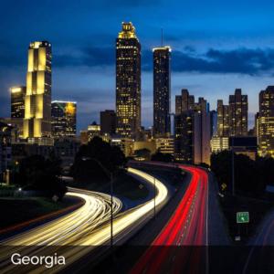 Georgia city skyline at night with traffic