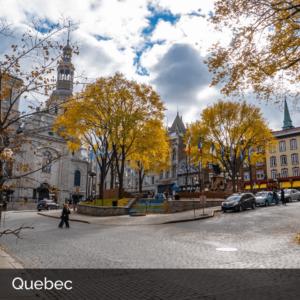 Quebec downtown public square in autumn