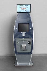 Blue surfboard shaped kiosk