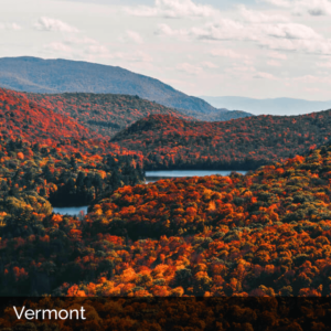 Vermont rolling hills with water in autumn