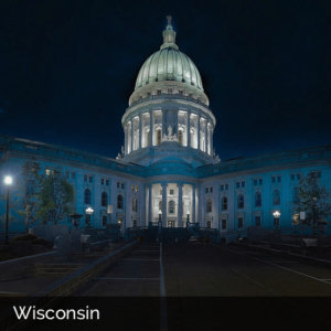 Wisconsin government building at night