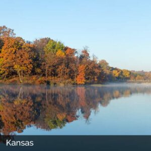 Scenic lake in Kansas with steam coming from surface
