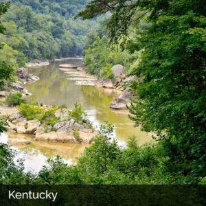 Kentucky river through woods in the hills